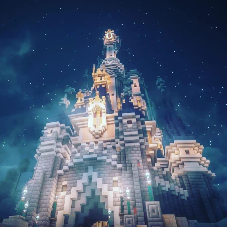 Image de nuit du château de disneyland paris sur Magiccraft minecraft